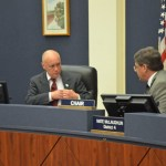Flagler County Commissioner Donald O'Brien, left, got fellow-Commissioner Nate McLaughlin flustered when O'Brien proposed a different way of applying new revenue from a proposed increase in the county's tourism tax. (© FlaglerLive)