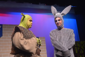 The exuberant Matthew Eaton plays Shrek's trusty Donkey. Click on the image for larger view. (© FlaglerLive)
