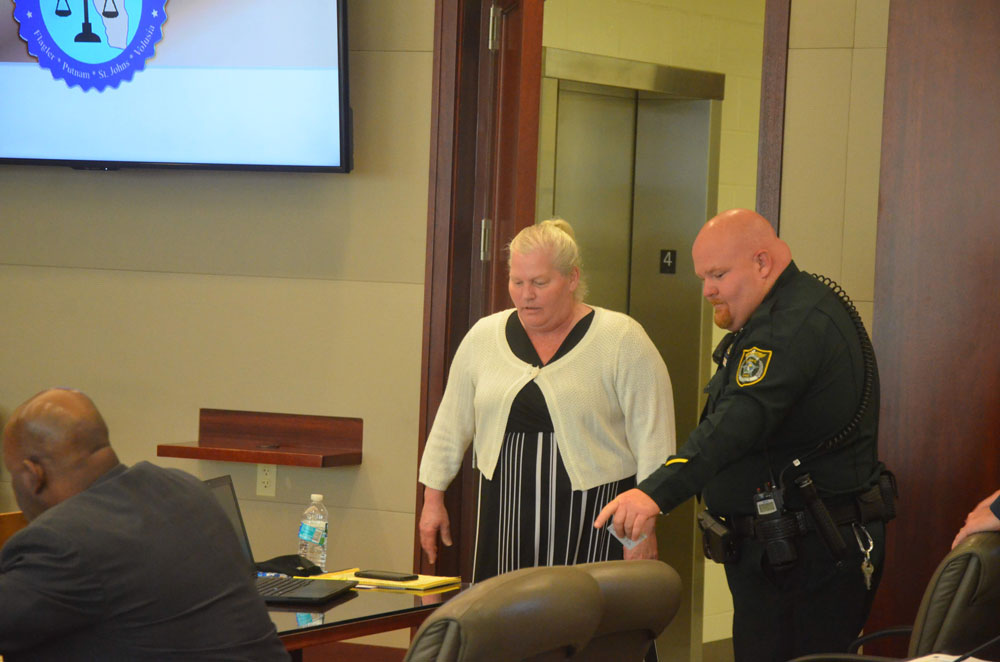 Dorothy Singer, who was found guilty by a jury last year of murdering her husband Charles in 2018, is back in court for a pre-trail following an appeals court reversal of the conviction. See details below. (© FlaglerLive)