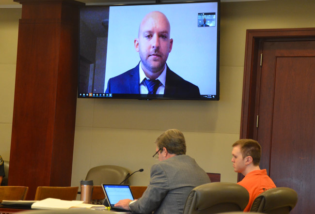 C.J. Whiteside, a former Florida Department of Law Enforcement agent who was the lead agent in the Paul Dykes case, and whose colleagues interviewed Paul Dykes at the Flagler County jail in what turned out to be an illegally conducted interview. Whiteside testified in court this morning by video conference, during a motion to suppress the evidence gathered as a result of that interview. The judge ruled against the motion. Dykes goes on trial on charges of raping a child on Dec. 4. (© FlaglerLive)