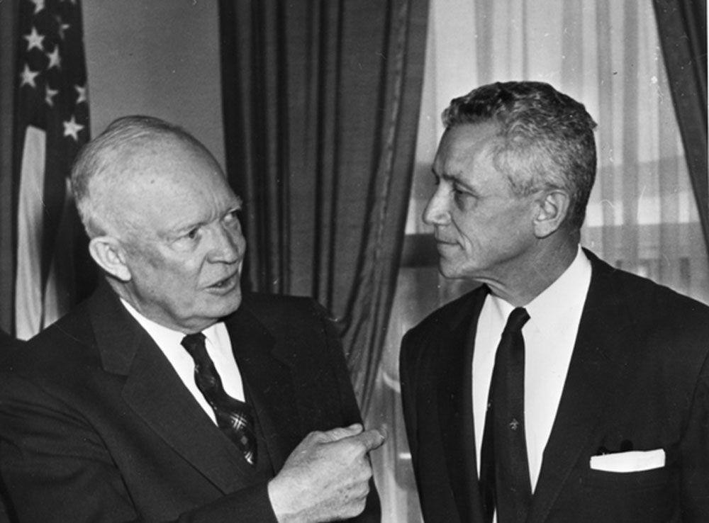 President Dwight Eisenhower with Florida Governor LeRoy Collins in 1955, the year of the polio vaccine rollout and Eisenhower's decision to put the full force of the federal government behind it. (Florida Memory)