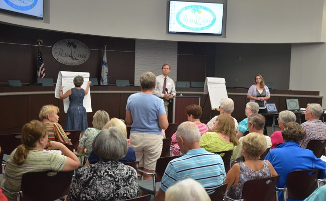The meetting to hear seniors' concerns and ideas drew some 90 people at Palm Coast City Hall this morning. (c FlaglerLive)