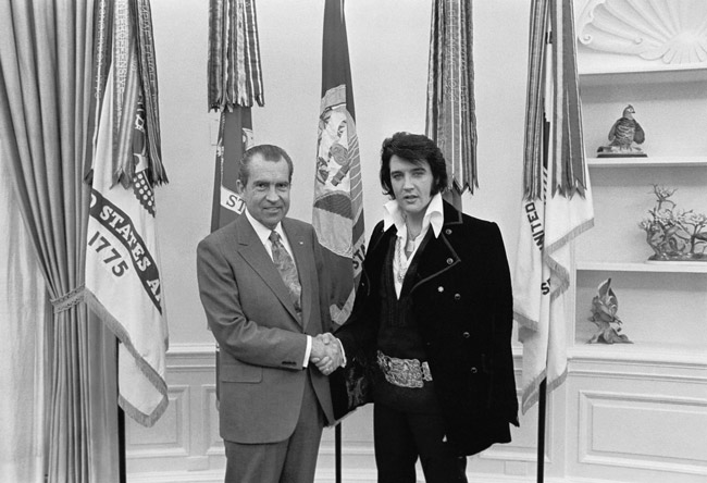 Elvis met President Nixon on this day in 1970. (National Archives)