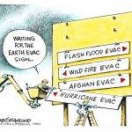 Evacuation signs by Dave Granlund, PoliticalCartoons.com