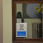 A mirror at the Family Life Center's offices. The center runs the county's only shelter for abused people. (© FlaglerLive)