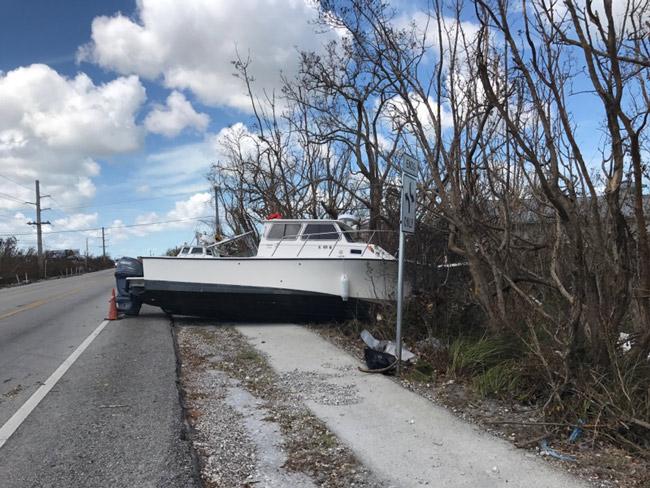 A Hurricane Irma parking job on U.S. 1 in a Big Pine Key marina. (Dan Chapman, USFWS)