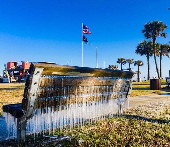 A rather cool image tweeted by the Flagler Beach Police Department illustrating last week's cold blast through the county.