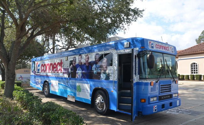The Flagler Education Foundation's Connect Bus at Ameris Bank Tuesday. The bus will be making increasingly visible appearances around the county. (c FlaglerLive)