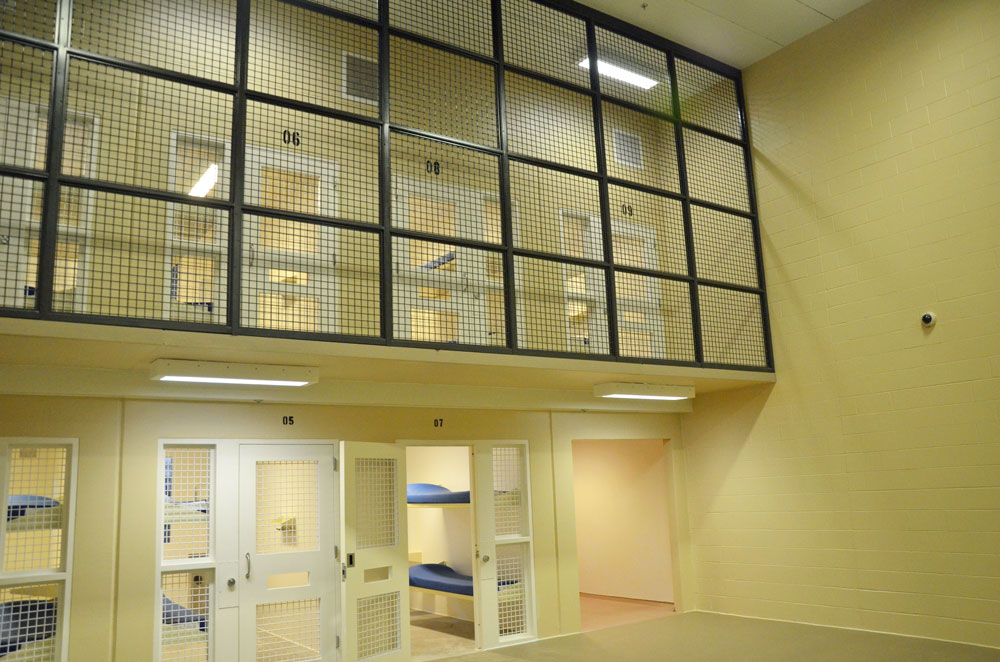 Fluorescent lights are on 24 hours a day at the Flagler County jail as a security measure, a jail official says. (© FlaglerLive)