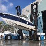 Not exactly marina-like: a forklift at a boat storage facility. (HCA)