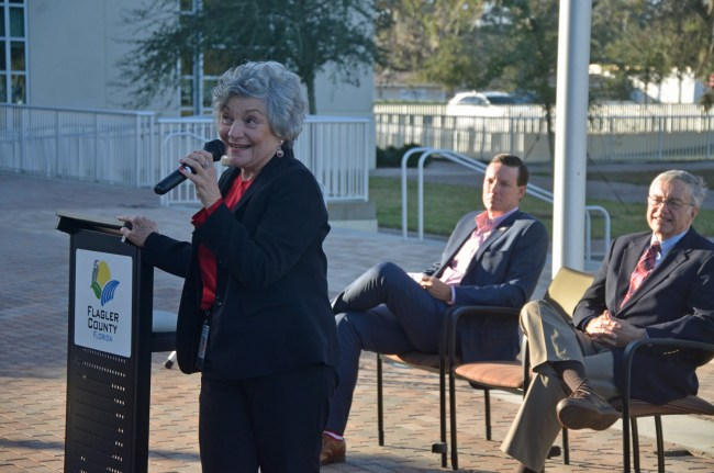'I just want you to know that I love you,' Clerk of Court Gail Wadsworth told an assembly of well-wishers at her farewell ceremony this afternoon on the plaza of the Flagler County Courthouse, also known as the Kim Hammond Justice Center. (© FlaglerLive)