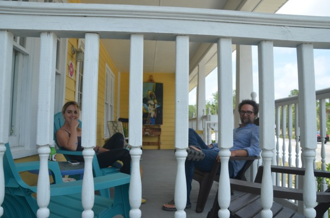 Their own white pickets: Patra Iston and JJ Graham, at home at Salvo Arthouse in Bunnell. (c FlaglerLive)