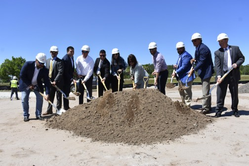 Palm Coast issued the above photograph of city officials and developers breaking ground at the Palms apartment complex last week.