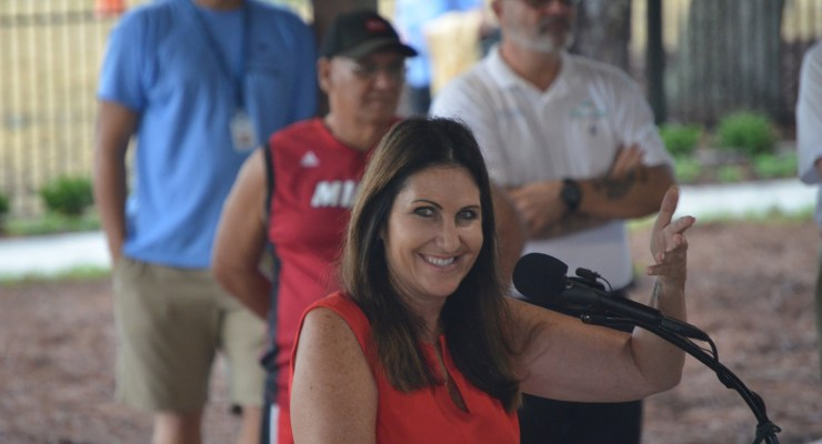 Palm Coast Mayor Milissa Holland at the commemorative re-opening of Holland Park last June. She will be the oanly main speaker at a $40-a-plate State of the City event at the remodeled city community center in April. (© FlaglerLive)