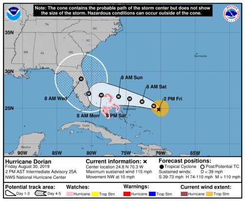 No relief from Hurricane Dorian's updated track as it now threatens even larger swaths of Florida, including Flagler.