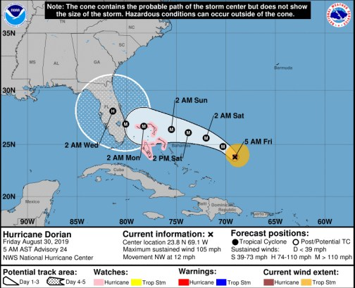 Hurricane Dorian's path as of Friday morning sees landfall in south Florida, then a sharp northerly turn.