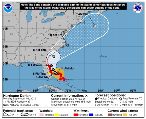 Emergency officials are worried about a track that has Hurricane Dorian possibly hugging the Flagler and Florida coastlines as it inches north over the next two to three days.