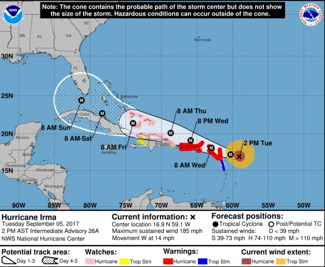 Hurricane Irma's track as of 2 p.m. Tuesday, Sept. 5. Click on the image for larger view.