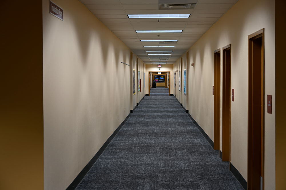 A hallway at Indian Trails Middle School, where, along with Buddy Taylor Middle, sixth graders will be attending starting next year. The shift is making the two middle schools the front runners in the district's rezoning. (© FlaglerLive)