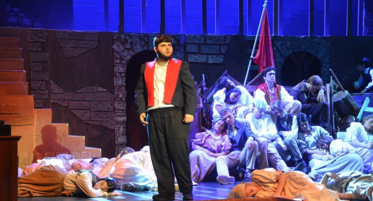 Nick Aiello as Jean Valjean in FPC's production of 'Les Miserables,' opening tonight at the Flagler Auditorium. (© FlaglerLive)