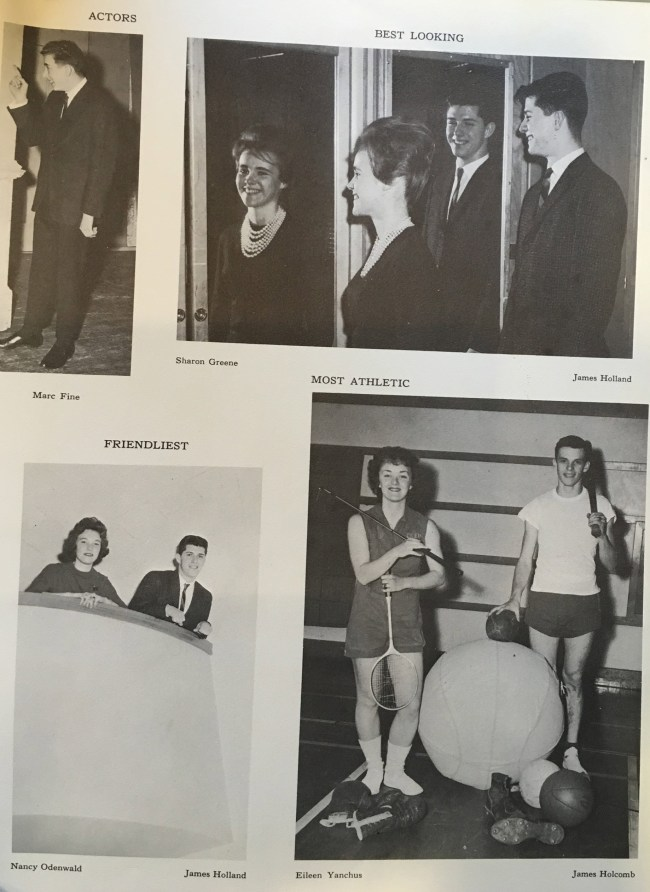 A page from history: Jim Holland, one of the founding members of the first Palm Coast City Council, after whom Holland Park is named, had been voted Best Looking in his 1962 graduating class, where this page appeared. Click on the image for larger view. (© FlaglerLive)