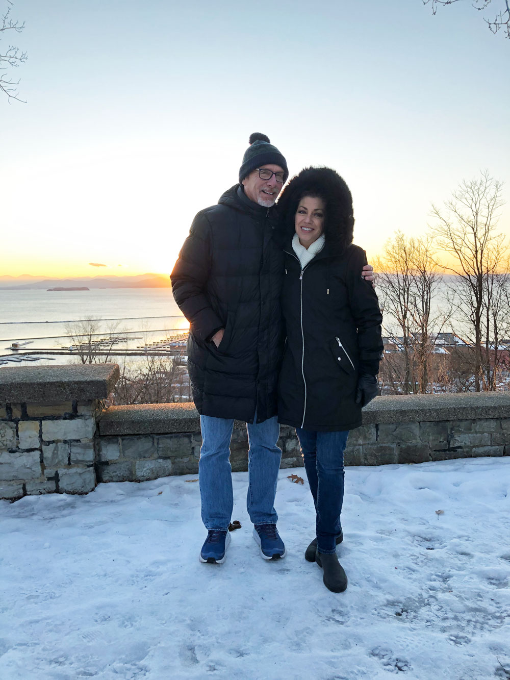 Into the sunset: Jim and Jodi Tager on the shores of Lake Champlain in Vermont earlier this month. Jim Tager was appointed superintendent of three small school districts there this week, starting in July. (Jim Tager)