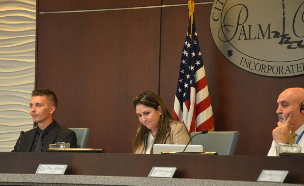 The Palm Coast City Council's Mayor Milissa Holland, Nick Klufas, left, and Eddie Branquinho today addressed last week's incident bat the council. The picture above is a file photo. (© FlaglerLive)