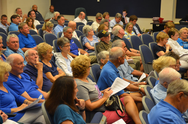 It appewared as if most of the population of the Lakeside By the Sea development on A1A at the north end of the county turned out at a planning board meeting Tuesday evening, to oppose a development at the north and southern ends of Lakeside. (© FlaglerLive)