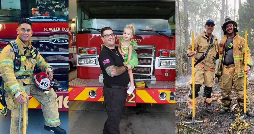 From left, Dylan Pontorno, Jon Moscowitz and his daughter, and Dylan Pontorno and his brother. (Flagler County)