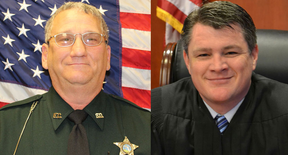 The Flagler County Sheriff's Paul Luciano, left, and Circuit Judge Steve Henderson.