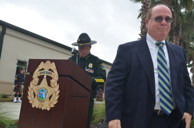 Jim Manfre, right, after being recognized for his service by newly-elected Sheriff Rick Staly in January 2017. (© FlaglerLive)