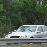 The Mercedes that struck the pedestrian in the northbound lanes of I-95 this morning. (© FlaglerLive)