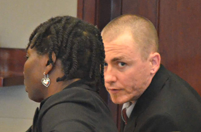 Michael Wilson with his attorney, Assistant Public Defender Regina Nunnally, this afternoon in court. (© FlaglerLive)