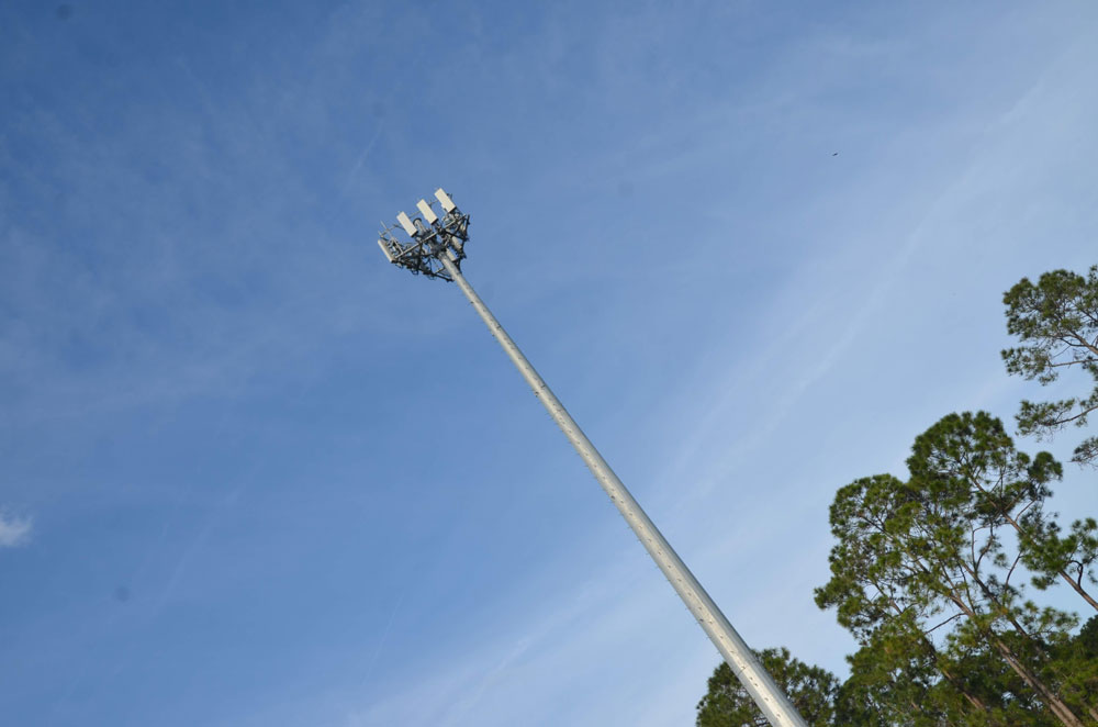 The year-and-a-half-old cell-tower monopole on Palm Coast Parkway, near Heroes Park. A similar pole is planned for a parcel on the city's Palm Harbor Golf Club.