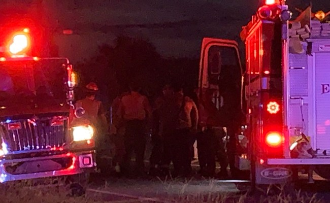 First responders and the Florida Highway Patrol at the scene of the crash between two motorcyclists on A1A in the Hammock this evening. (c FlaglerLive)