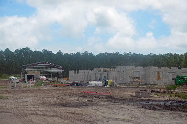 Work is progressing on the $22 million, 76,708 square foot Army Readiness Center at the south end of the Flagler County airport. (© FlaglerLive)