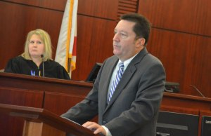 Michael Nielsen, Snelgrove's attorney, during opening arguments this morning. (© FlaglerLive)