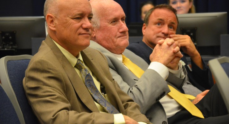 Commission Chairman Don O'Brien, left, Dave Sullivan and Joe Mullins voted to approve the controversial Beachwalk development on Jungle Hut Road in the Hammock. (© FlaglerLive)