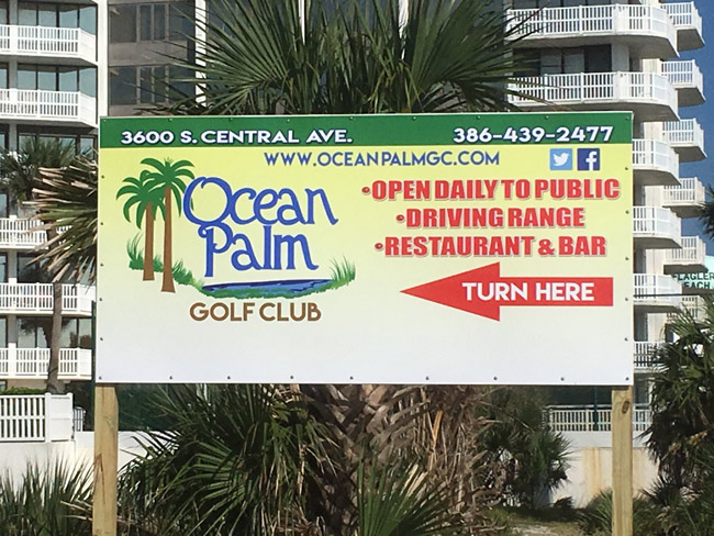 Ocean Palm Golf Club, the nine-hole course at the south end of Flagler Beach, has had its issues in the past year--the city commission found it in default of its lease this month--but  the course has new management, a new sign, and renewed vigor as it attempts to make its mark . (© FlaglerLive)
