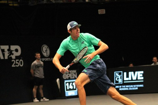 On his way: Reilly Opelka Sunday evening. (© Brian Coleman for FlaglerLive)