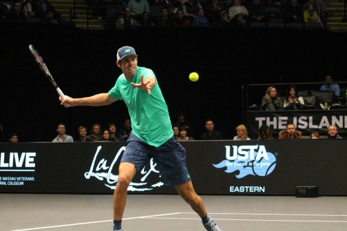 Opelka's forehand is among his developing weapons. (© Brian Coleman for FlaglerLive)