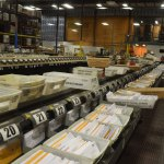 At its apex Palm Coast Data processed some 12 million pieces of mail a year. The company will now outsource that aspect of its operations and leave its long-time home on Commerce Boulevard. (© FlaglerLive)