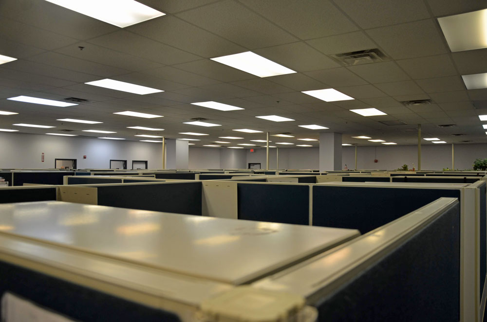 The previous Palm Coast Data offices at 2 Commerce Drive, now being converted into offices, warehouse space and call center for Ground Up, the auto parts company. (© FlaglerLive)