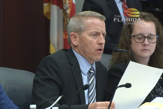 Paul Renner, the Palm Coast Republican, chairing the House Judiciary Committee this afternoon. (© FlaglerLive via Florida Channel)