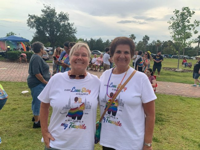 Pauline and Ann donated their $300 winnings from a raffle back to local LGBTQ causes. (© FlaglerLive)