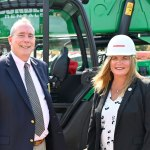 On the job: Flagler County Administrator Heidi Petito last month with Palm Coast Mayor David Alfin, during the filming of AdventHealth Palm Coast's groundbreaking on the hospital getting built on Palm Coast Parkway. Petito has developed working relationships with colleagues in local government. (© FlaglerLive)