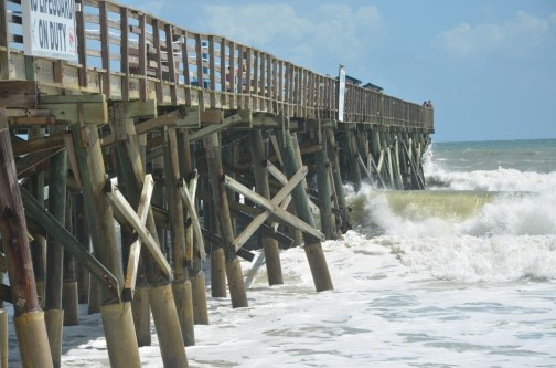 Sensors were going off on the Flagler Beach pier today, signaling some instability. (© FlaglerLive)