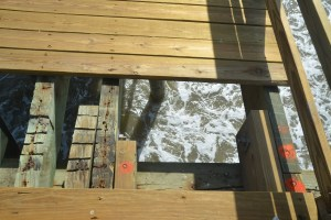 One last section of the pier needed its planks. Click on the image for larger view. (© FlaglerLive)