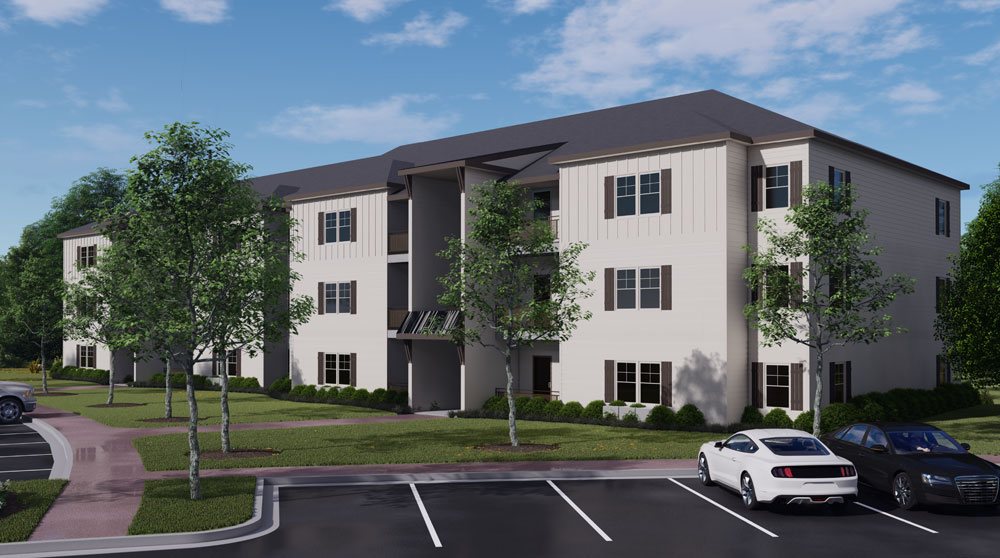 The buildings will rise 43 feet. The two-bedroom apartments will consist of around 1,100 square feet. The project will have only two-bedroom apartments, intended to be affordable. Rent will be set between $1,100 and $1,300 a month.