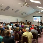 Preserve Flagler Beach and Bulow Creek--seen above leading a community meeting in late 2019--was organized as a community group two years ago to oppose The Gardens. (© FlaglerLive)